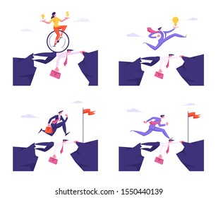 Social Climber Careerist Reach Goal Set. Business People Overcome Abyss Going by Back of Partner like on Bridge. Challenge, Businesspeople Manager Walk over Heads. Cartoon Flat Vector Illustration
