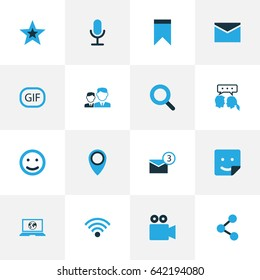 Social Colorful Icons Set. Collection Of Bookmark, Notification, Smile And Other Elements. Also Includes Symbols Such As People, Smile, Location.