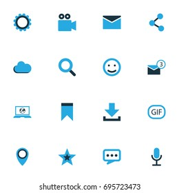 Social Colorful Icons Set. Collection Of Animation, Chatting, Cloud And Other Elements. Also Includes Symbols Such As Chat, Envelope, Conversation.
