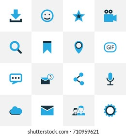 Social Colorful Icons Set. Collection Of Animation, Bookmark, Cogwheel And Other Elements. Also Includes Symbols Such As Pennant, Star, People.