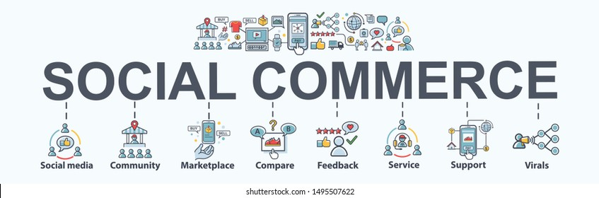 Social commerce banner web icon for e-commerce and social media marketing, community, platform, feedback, viral and marketplace. Flat vector infographic.