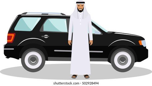Social concept. Arab man standing near the car in traditional islamic clothes. Detailed illustration of automobile and saudi arabic man on white background in flat style. Vector illustration.