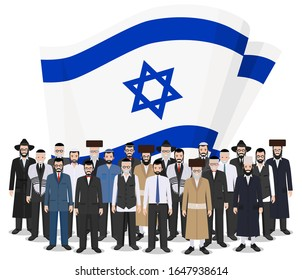 Social concept. Group adults and senior jewish people standing together in row in different traditional national clothes on background with Israel flag in flat style. Vector illustration.