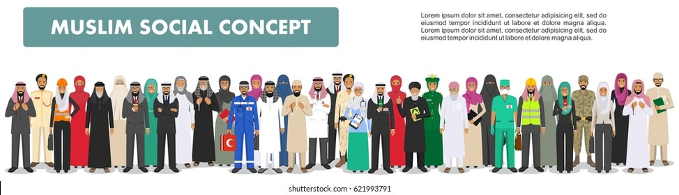 Social concept. Large group muslim arabic people professions occupation standing together in different suit and traditional clothes on white background in flat style. Arab men and women in row. Vector