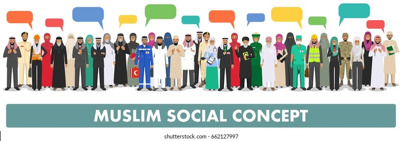 Social concept. Large group muslim arabic people professions occupation standing together in row and speech bubble in different suit and traditional clothes on white background in flat style. Vector.