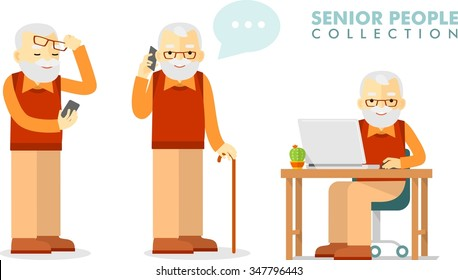Social concept - old man using computer and mobile phone. Set of senior man with smartphone and laptop networking