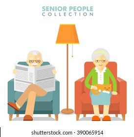 Social concept - old people couple. Happy senior man woman family sitting on the chair and rest with newspaper and cat