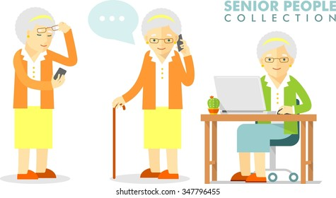 Social concept - old woman using computer and mobile phone. Set of senior woman with smartphone and laptop networking