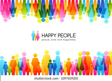 Social conceptual illustration. Horizontal background with top and down borders from colorful people icons.