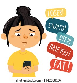 Social and cyber bullying concept. Vector illustration about hate messages, body shaming, fat shaming, racism at school.