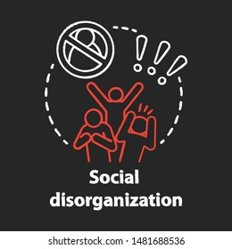 Social disorganization chalk concept icon. Behavioral problems idea. Crimes against humanity, discrimination. Social conflicts & bullying. Vector isolated chalkboard illustration
