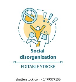 Social disorganization concept icon. Behavioral problems thin line illustration. Crimes against humanity, discrimination. Social conflicts & bullying. Vector isolated outline drawing. Editable stroke
