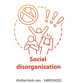 Social disorganization concept icon. Behavioral problems thin line illustration. Crimes against humanity, discrimination. Social conflicts & bullying. Vector isolated outline drawing