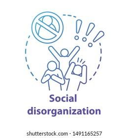 Social disorganization concept icon. Behavioral problems thin line illustration. Crimes against humanity, discrimination. Social conflicts & bullying. Vector isolated outline drawin