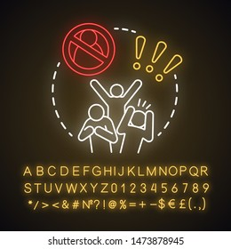 Social disorganization neon light concept icon. Behavioral problems idea. Crimes against humanity, discrimination. Social conflicts & bullying. Glowing alphabet, numbers. Vector isolated illustration