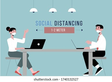 Social Distance. Business People, Office, Working Environment, Distance, office supplies. Pandemic Period, Covid 19.