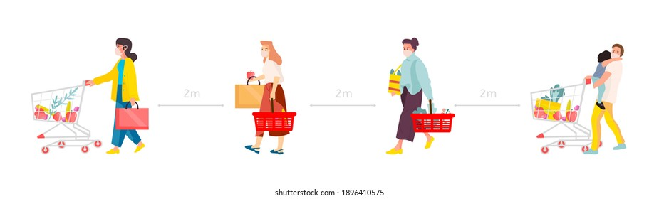 Social distance concept. People in medical masks with shopping trolley queuing at grocery or supermarket, safe distancing in public places, covid-19 prevention, vector cartoon horizontal illustration