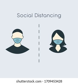 social distance icon, measure protection from spread virus, people isolation from coronavirus, thin outline web symbol on white background. man and woman in medical mask