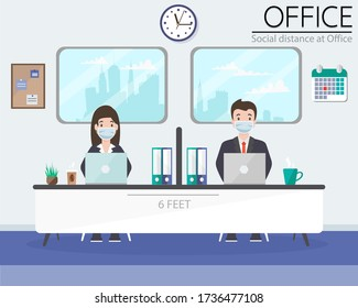 Social distance in New normal Concept, People Office worker men and women wearing medical face mask live at Office. prevent pandemic of corona virus or COVID-19. Flat Vector illustration.