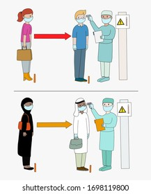 Social distance required on the airport. Caucasian couple and muslim couple in the airport being checked at the airport of temperature.