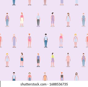 Social distance seamless pattern. People who are in anxiety and fear because of the corona virus. Wuhan corona virus illustration. Wuhan pneumonia illustration.