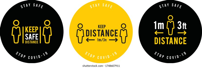 social distance signage icon vector