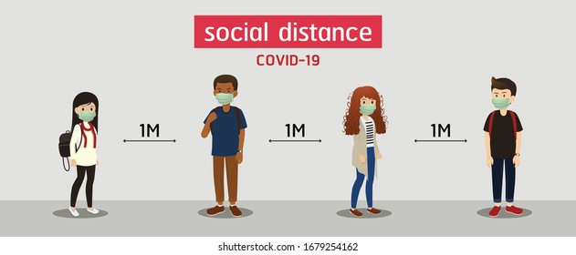s.ocial distance, Space for safety, and people should be 1 meter apart, social distancing