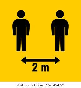 Social Distancing 2 Meters Icon. Vector Image.