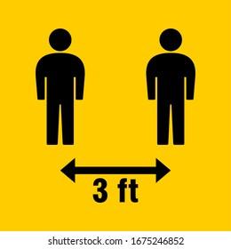 Social Distancing 3 Feet Icon. Vector Image.