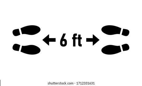 Social Distancing 6 ft or 6 Feet Keep Safe Distance Shoeprints Icon. Vector Image.