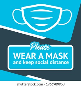 Social distancing. Banner template for opening a business after quarantine. Wear a mask and keep social distance. For printing and social networks.
