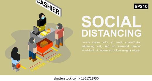 Social distancing at cashier counter illustration vector | EPS10
