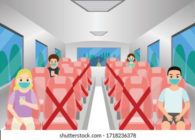 Social distancing chair space inside bus,  for protect pandemic of virus Covid-19, COVID-19 Quarantine. Pandemic Coronavirus Reducing risk of infection, social distancing concept.