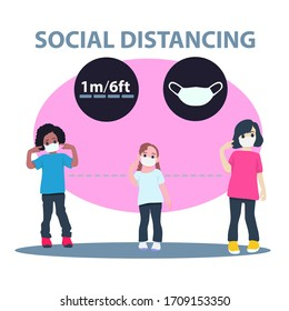 Social Distancing, Child group keeping distance for infection risk and disease, wearing a surgical protective Medical mask for prevent virus Covid-19. Health care concept.
