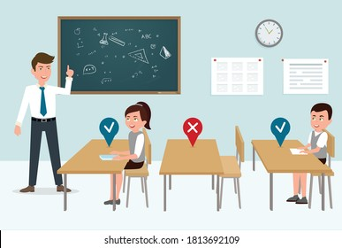 Social distancing in the clasroom. COVID-19 Guidance for Schools. New Rules for school. students wearing face mask and maintaing safe distance. teacher standing and students sitting in the classroom