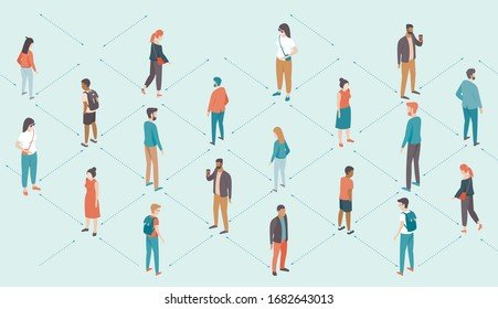 Social distancing concept during coronavirus COVID-192019-ncovdisease outbreak. People keep distance from each other. Flat vector illustration