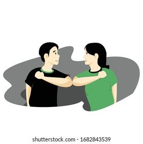 Social distancing concept.  Elbow bump, avoid physical contact, handshake or hand touch to protect from COVID-19 coronavirus.  New novel greeting to avoid the spread of coronavirus. Vector
