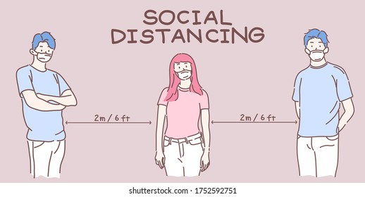 Social distancing concept, People keep distance in public to protect from COVID-19.