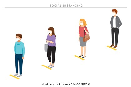 Social Distancing Concept, People Wearing Surgical Masks Standing With Distance In Queue, Protection For Coronavirus Disease, Covid-19, Lifestyle, Leisure, Hobby