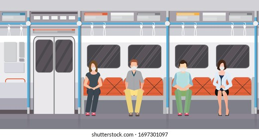 Social distancing concept with people wearing medical masks on subway train. keep spaces between each chairs make separate for social distancing to avoid spreading illness covid-19,vector illustration