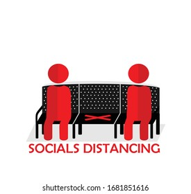 Social distancing concept. Physical distancing sitting in a public chair. Keep distance in public society people to protect from coronavirus or COVID-19. Editable clip art. Vector