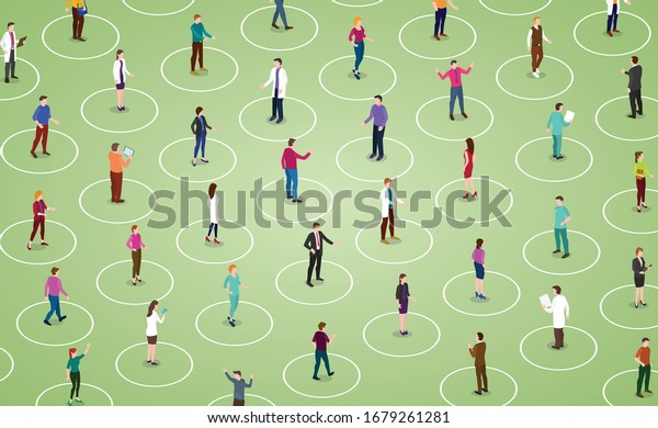 social distancing concept for preventing coronavirus covid-19 with people keeping a circular distance boundary in modern isometric style
