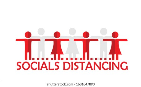 Social distancing concept. Silhouette  people represent social distance of coronavirus or covid-19 issue. Editable clip art. vector