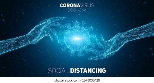 Social distancing concept two hands separate from each other to prevent COVID-19 coronavrius disease. Pathogen protection vector illustration. COVID-19 virus concept background.