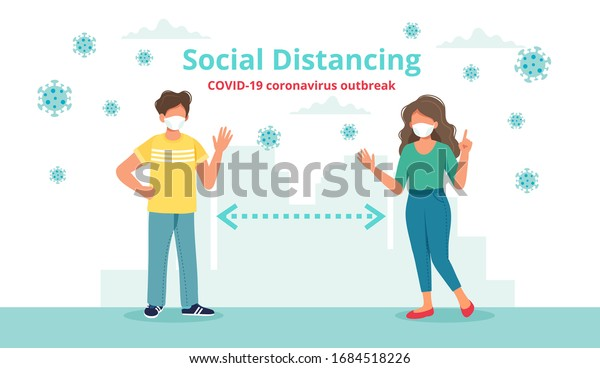 Social distancing concept with two people at a distance waving to each other. Vector illustration in flat style