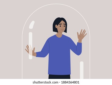 Social distancing concept, a young female worried character leaning on the glass dome wall, depression and mental health issues