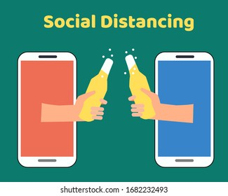 Social Distancing with COVID-19 crisis concept: There are two hands from mobiles hold bottle of cold beer for celebrate together. Protect corona virus. Cartoon vector style for your design.