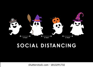 Social distancing (COVID-19) with cute scary ghost in hat party and spooky pumpkin. Holidays cartoon character. Corona virus protection-Vector.