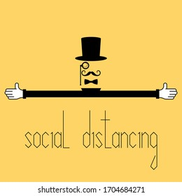 Social distancing during coronavirus outbreak sign, abstract vintage man with open arms vector illustration