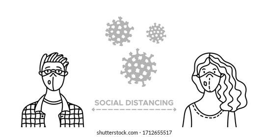 Social distancing during outbreak of the coronavirus. Man and woman keep 2 meters apart as they speak to each other. They wearing safety breathing masks. Keep safety distance to protect from covid-19.